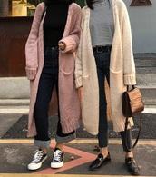 cardigan,girly,oversized cardigan,oversized,pink,nude,knitwear,knit,knitted cardigan