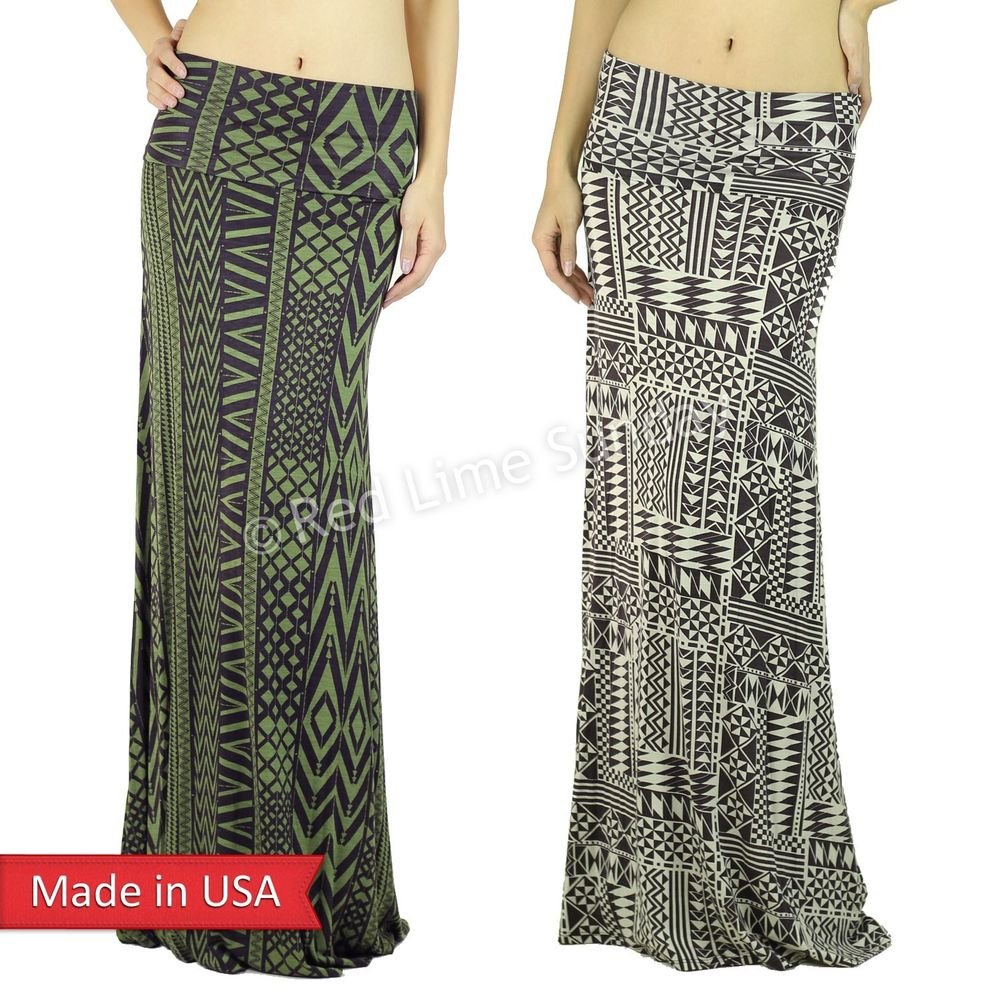 Women Olive Taupe Color Aztec Tribal Pattern Fold Over Long Print Maxi Skirt USA
