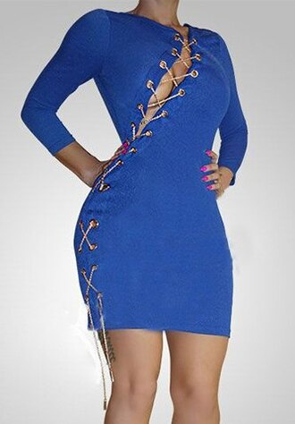 dress blue sexy long sleeves hot sexy jewel neck 3/4 sleeve lace-up bodycon dress for women chain lace up party rosegal-dec