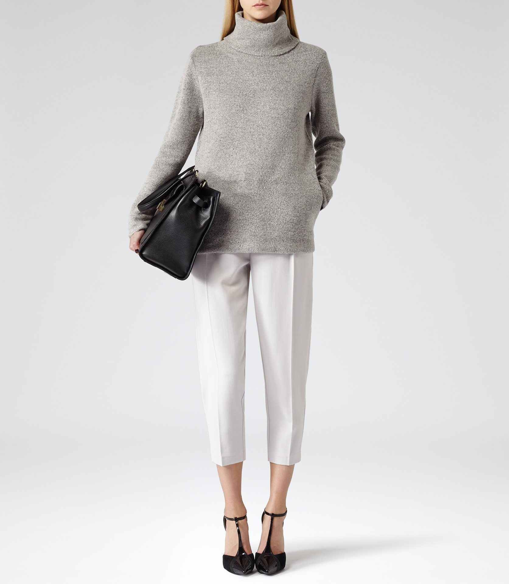 Sergant Dove Grey Oversized Roll Neck Jumper - REISS