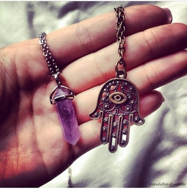 jewels hamsa necklace boho festival necklace