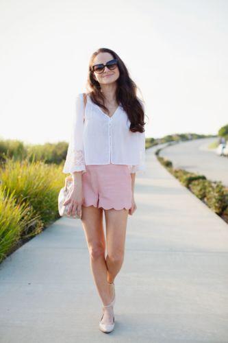 Asos scalloped linen shorts size 2