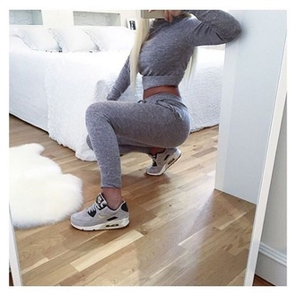 jumpsuit grey sweatpants grey sweater