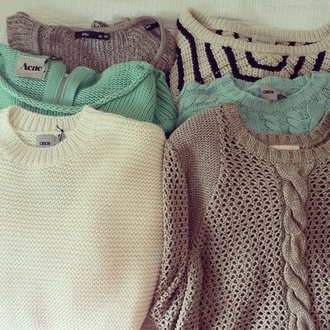 sweater tumblr clothes pastel fashion tan cute blue knitted sweater cute sweaters blouse