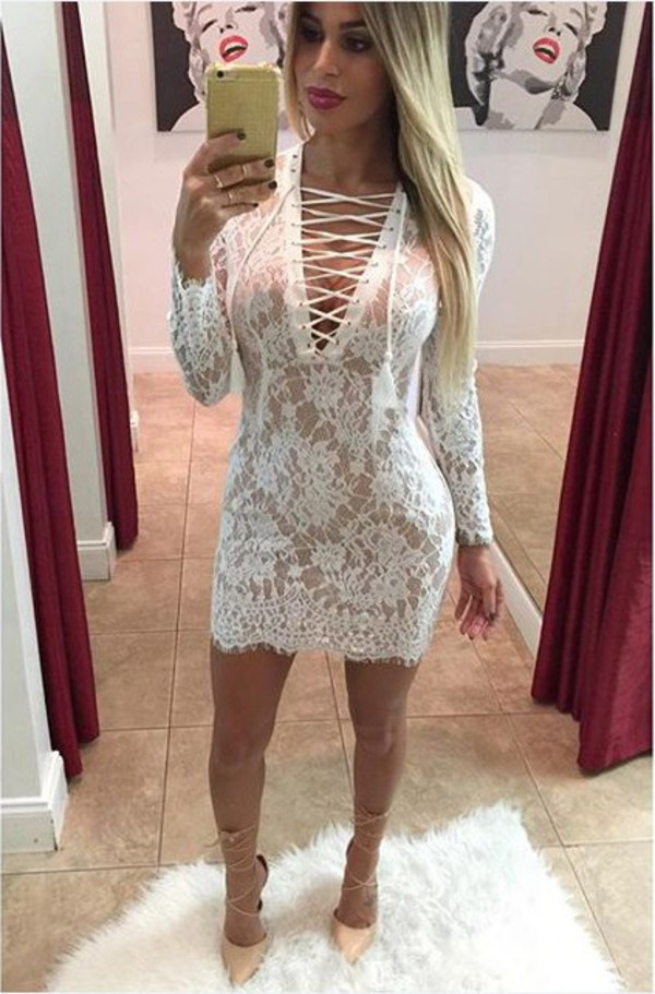dress girl girly girly wishlist white white dress lace lace dress bodycon bodycon dress lace up