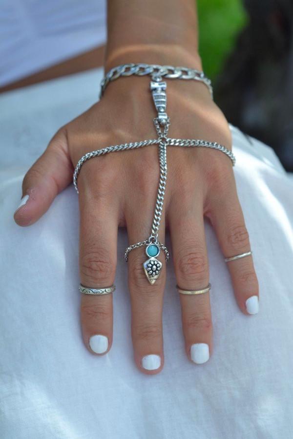 jewels hand chain silver boho fashion slave bracelet bracelets summer boho jewelry free vibrationz