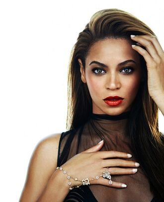 jewels beyonce amazing beautiful black gorgeous sexy make-up red lipstick mesh top black girls killin it