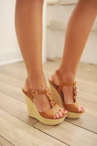 Brown Strappy Wedge Shoes