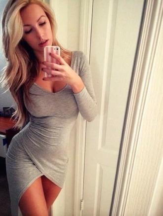 dress wrap dress gray pretty tight dress bodycon dress long sleeve dress short dress