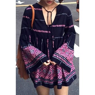 dress boho black purple fashion summer style long sleeves rose wholesale-feb
