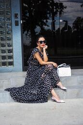 hallie daily,blogger,dress,bag,shoes,sunglasses,jewels,maxi dress,polka dots,slingbacks