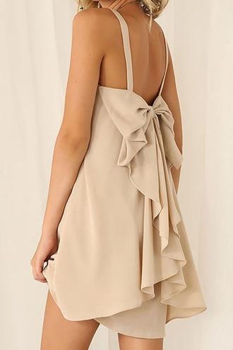 dress chiffon bowknot embellished dress bow nude summer