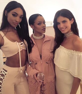 jacket top crop tops dress jourdan dunn sara sampaio rihanna fenty x puma paris fashion week 2016 jumpsuit nude nude jumpsuit lace up lace up jumpsuit party outfits sexy sexy outfit summer outfits spring outfits fall outfits winter outfits celebrity celebrity style celebstyle for less cute girly clubwear wedding clothes wedding guest dope