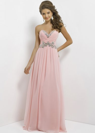 Crystal Pink Strapless Beaded Top Pleated Long Prom Dress [Blush Prom 9616] - $162.00 : Hot Sale Prom Dresses & Homecoming Dresses For Cheap
