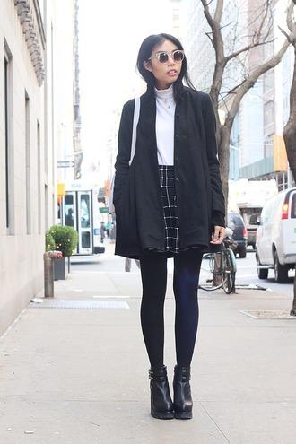 fashion of a novice blogger coat shoes checkered black skirt black coat platform shoes sunglasses