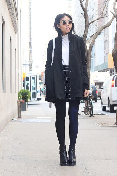 Skirt: fashion of a novice, blogger, coat, shoes, checkered, black ...