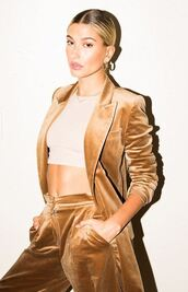 jacket,velvet,pants,crop tops,hailey baldwin,editorial,celebrity,model off-duty