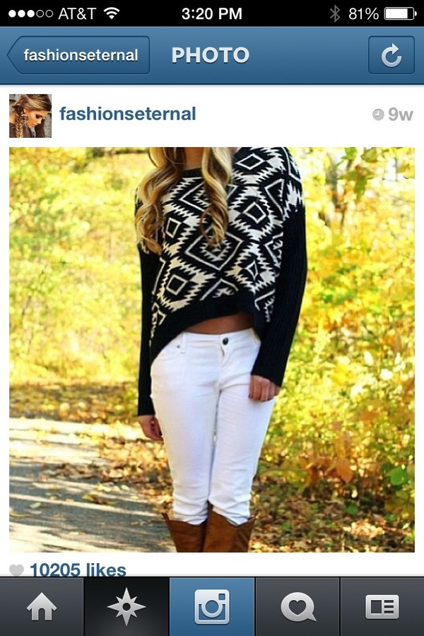 sweater pattern sweater jeans boots tribal pattern jeans pretty