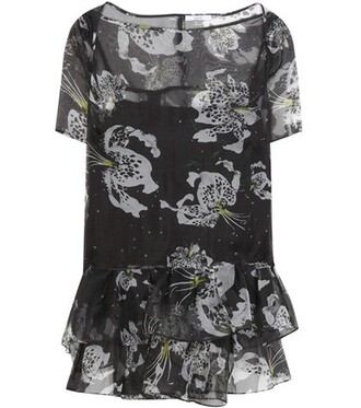blouse floral silk black top