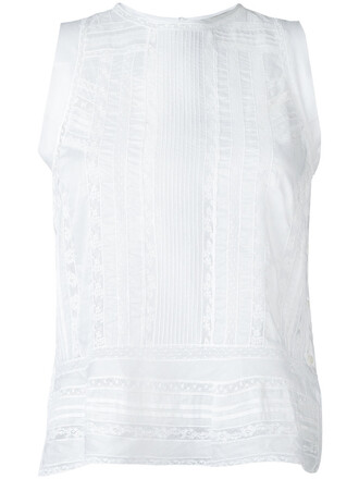blouse sheer blouse sleeveless sheer women white cotton top