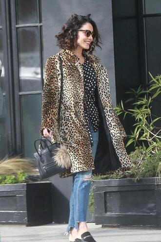 blouse vanessa hudgens coat animal print jeans streetstyle polka dots top