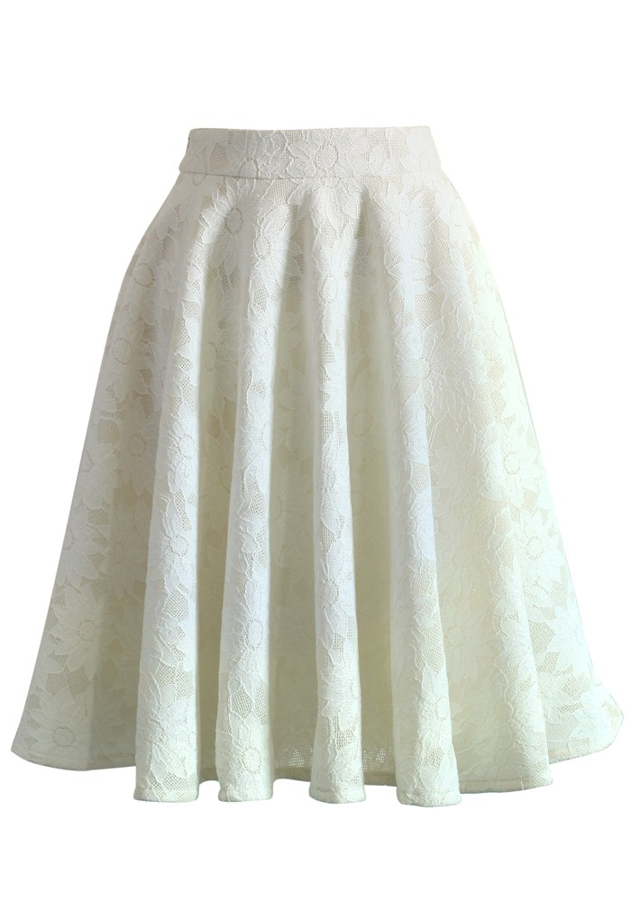 Daisy Romance Full Lace Midi Skirt - Retro, Indie and Unique Fashion