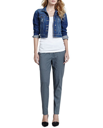 Vince Parker Cropped Denim Jacket, Ribbed Favorite Tank & Relaxed Drawstring Jogger Pants - Neiman Marcus