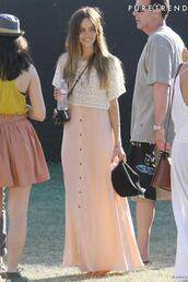 isabel lucas,coachella,crochet,dress,pink dress,white dress,brown dress,tank top