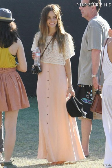 isabel lucas coachella crochet dress pink dress white dress brown dress tank top