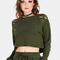 Distressed cropped pullover olive -shein(sheinside)