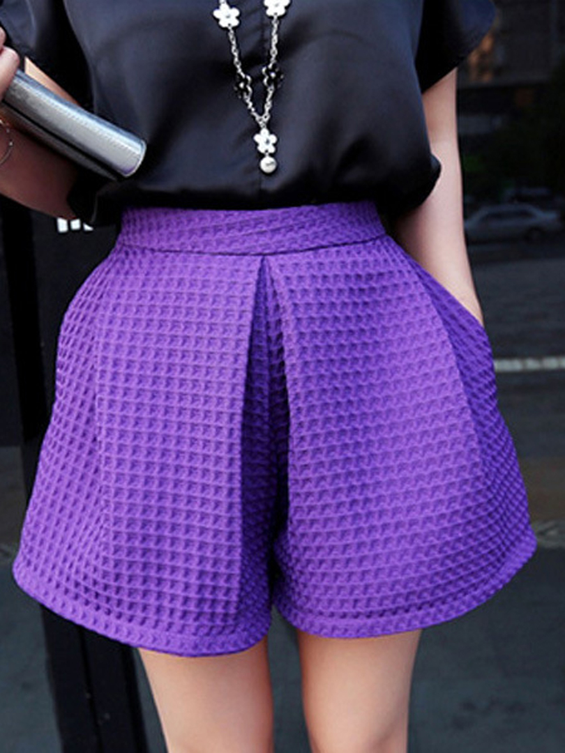 Purple High Waist Wide Leg Shorts - Choies.com