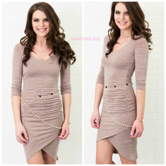 dress taupe midi dress chain belt amazinglace bodycon dress