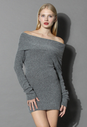 dress,delicate angora off-shoulder tunic in grey,chicwish,grey,tunique