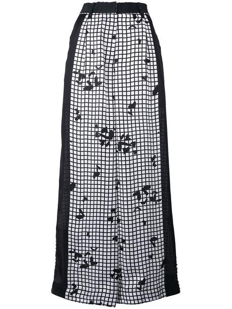 Sacai women print black grid pants