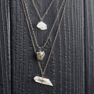 jewels angl necklace quartz crystal quartz jewelry boho boho jewelry frantic jewelry style instagram bohemian new arrivals gold white clear stone necklace stone