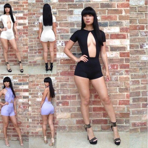 Women's Cut Out Stretchy Clubwear Cocktail Jumpsuit Romper Pants Shorts Bodysuit | eBay