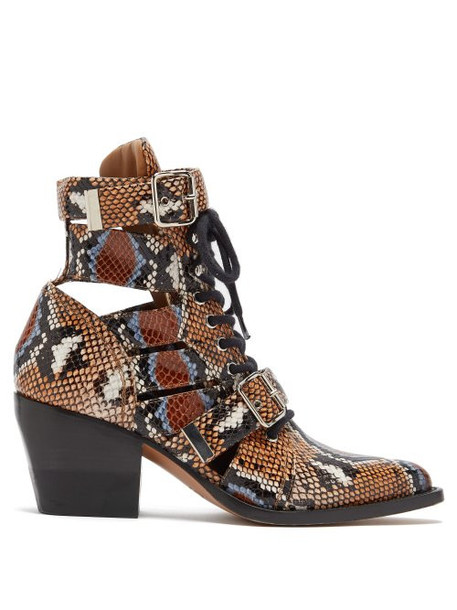 leather ankle boots python ankle boots leather print shoes