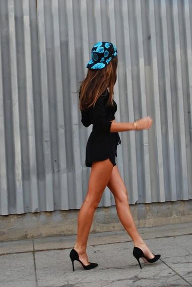 black blue hat