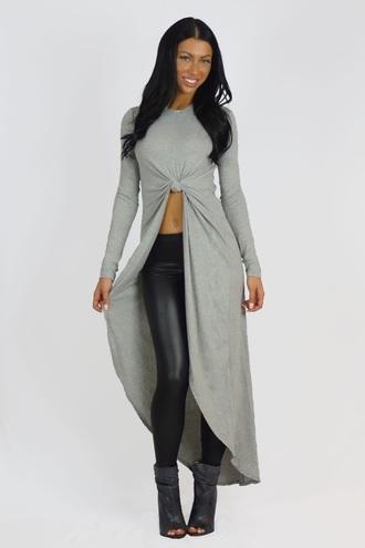 top grey asymmetrical fashion style trendy long sleeves cool free vibrationz