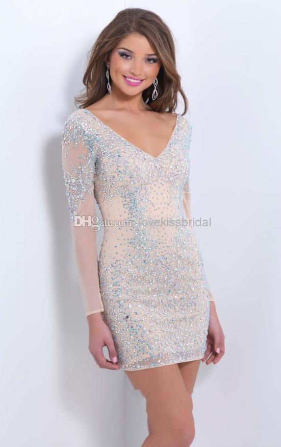 Cheap 2014 Short Prom Dress - Discount 2014 Fall Sparkling Short Sheath Prom Dresses V Neck Backless Crystal Beads Sequin Sheer Long Sleeve Evening Gowns Cheap Formal Dress Ssj Online with $139.27/Piece | DHgate