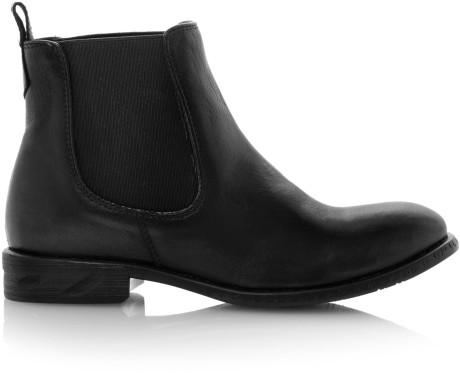 Madden Black Treacy Leather Almond Toe Flat Boots
