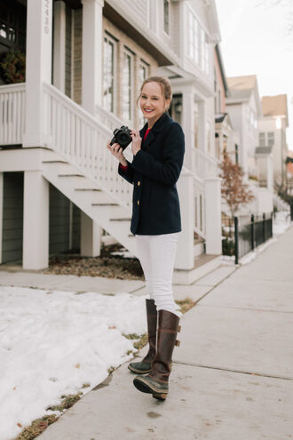 kelly in the city - a preppy chicago life style and fashion blog blogger coat jeans scarf sweater shoes boots white pants blazer winter outfits