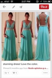dress,teal,lace dress,backless dress,open back,evening dress,bridesmaid