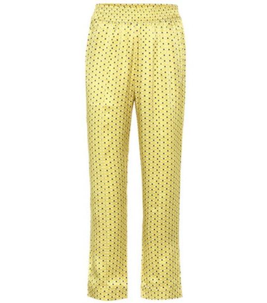 Asceno Printed silk pajama pants in yellow