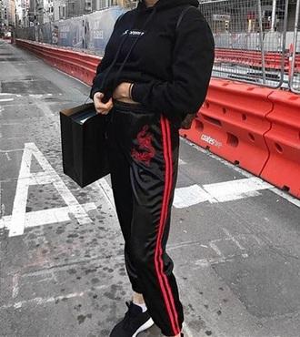 pants black red stripes joggers joggers pants satin tumblr