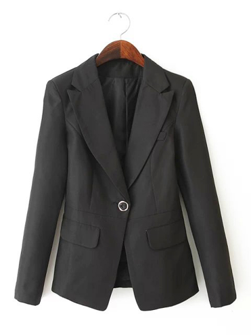 Casual wear notch lapel single button blazer black