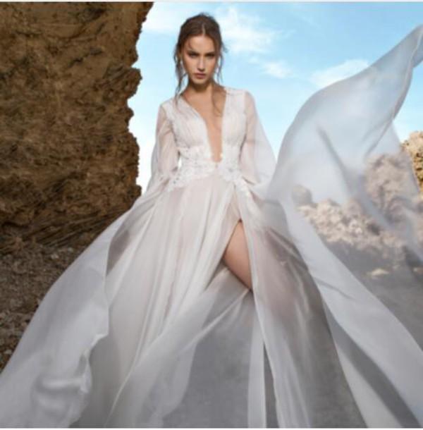 7c21e7e276d6 dress beach wedding dress long sleeve wedding dress chiffon dress illusion sexy  wedding dresses deep v