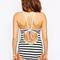 White wave print cut away lace up back swimsuit