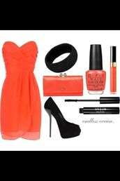 dress,redo orange,mixed colors,orange,shoes,high heels