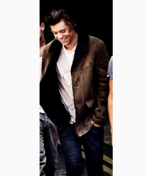 jacket winter outfits fall outfits fur harry styles